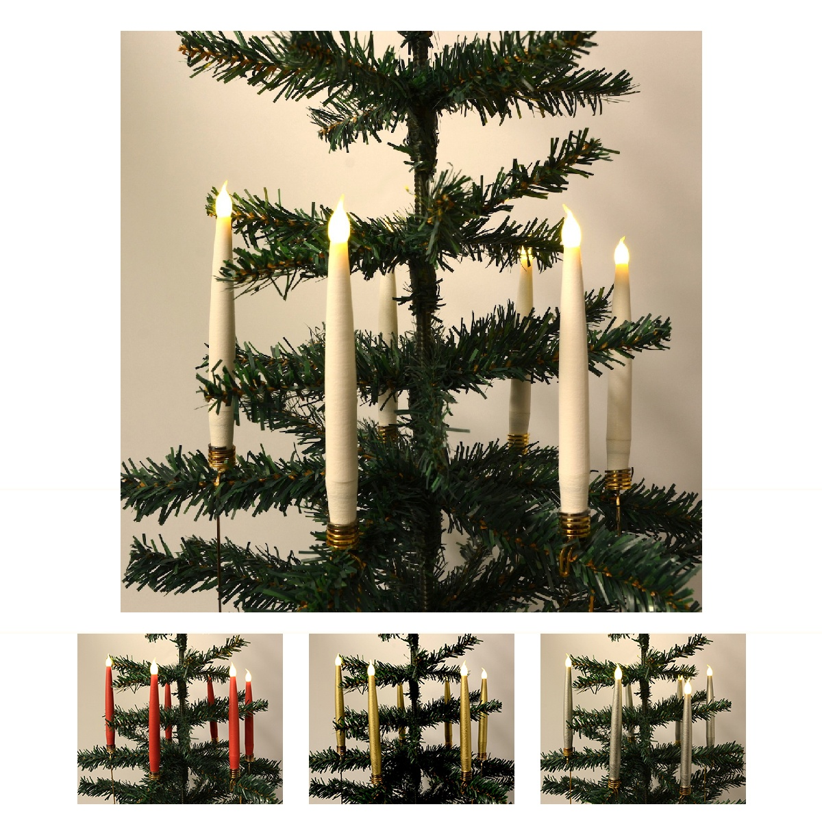 Juletræslys LED 10 stk. Trådløse inkl. Fjernbetjening & Klemmer - passer til de fleste Georg Jensen lysholdere m.m.