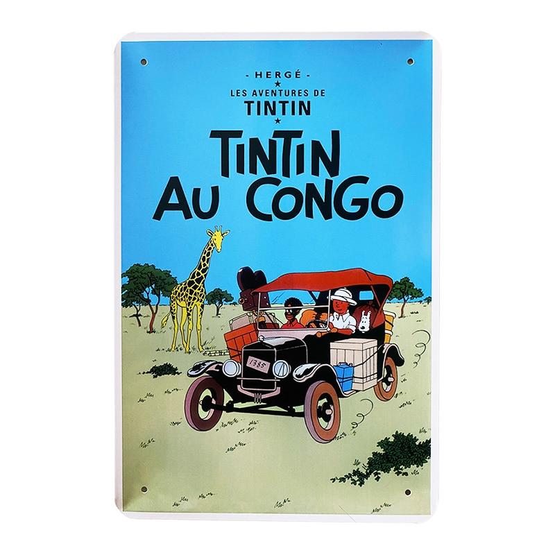 Metalskilt - TinTin Au Congo