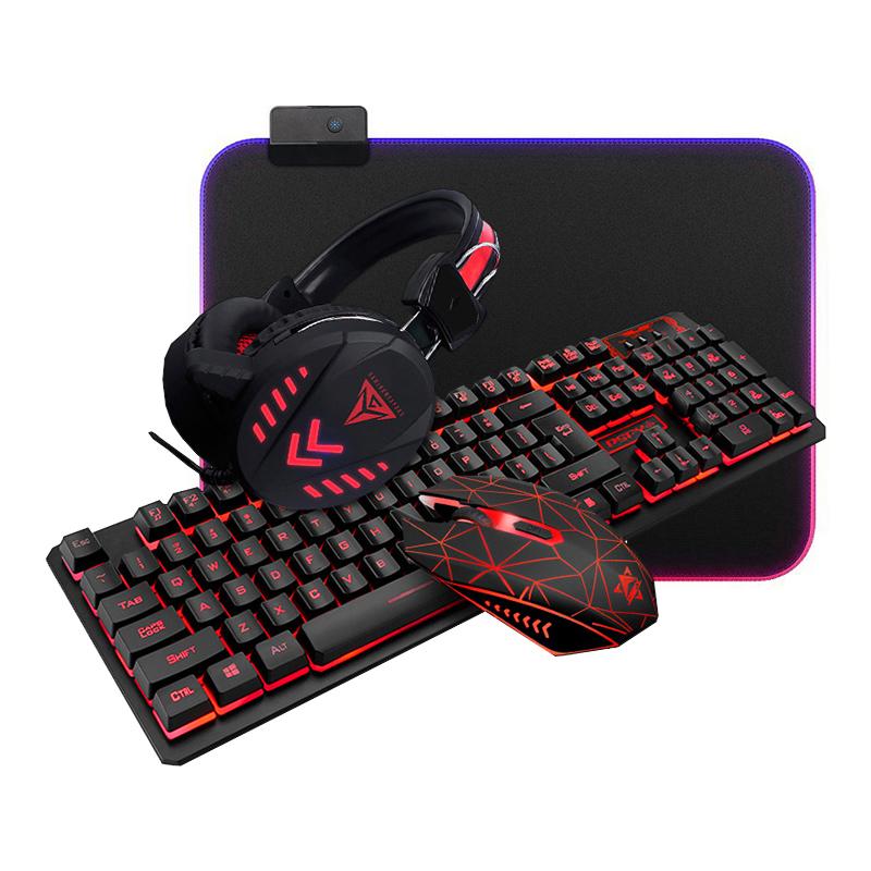 4-i-1 kvalitets gamer sæt med tastatur/mus/headset/musemåtte