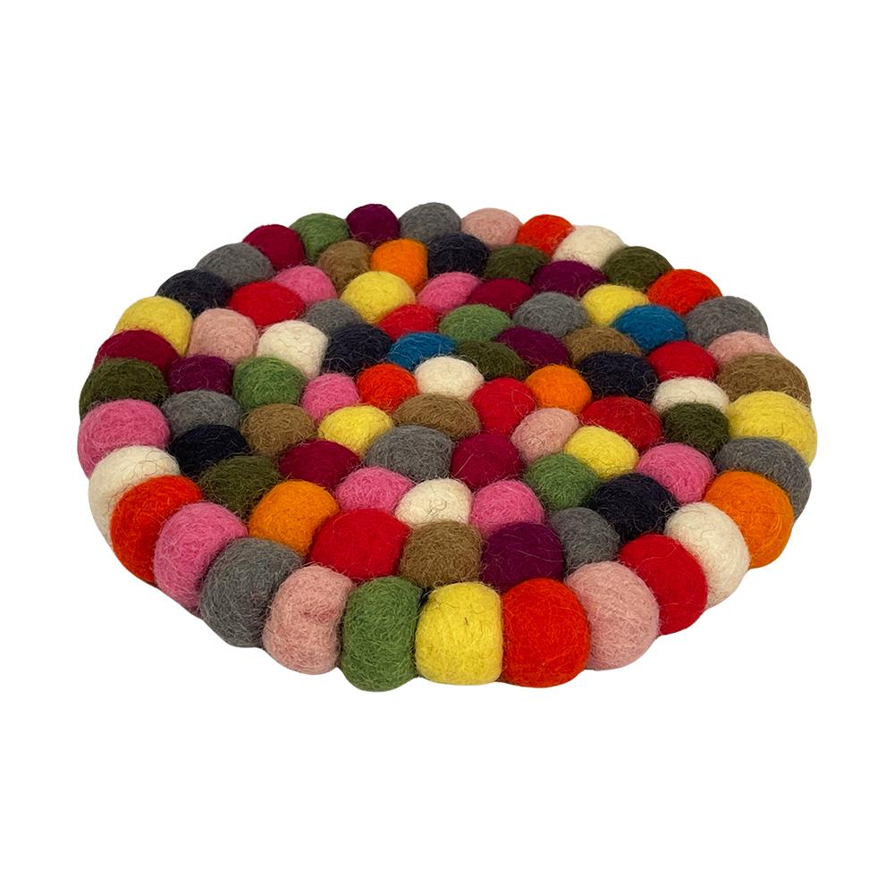 Bordskåner i 100% uld (ø10cm) - multifarvet, går eller lysegrå