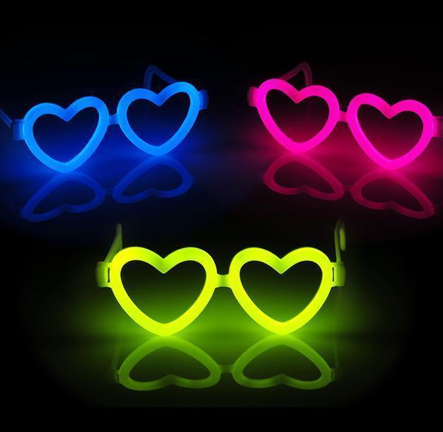 Briller Hjerteformet - Selvlysende glow stick