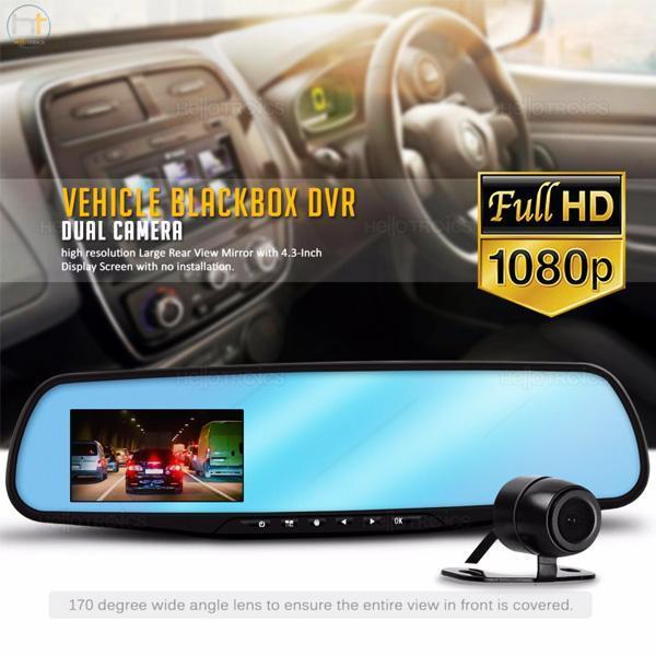Dashcam bakspejl med front/bak kamera (Fuld HD og Nightvision)